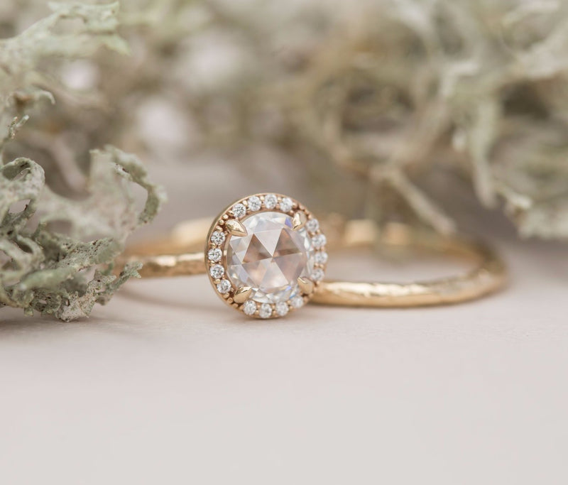 Rosecut Moissanite in Yellow Gold Diamond Halo - Hand Carved Eclectic Band and Antique-inspired setting - Rosecut Engagement Ring by Anueva Jewelry