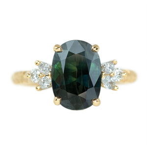 2.90ct Oval Sapphire Diamond Cluster Ring In 14k Yellow Gold Evergreen