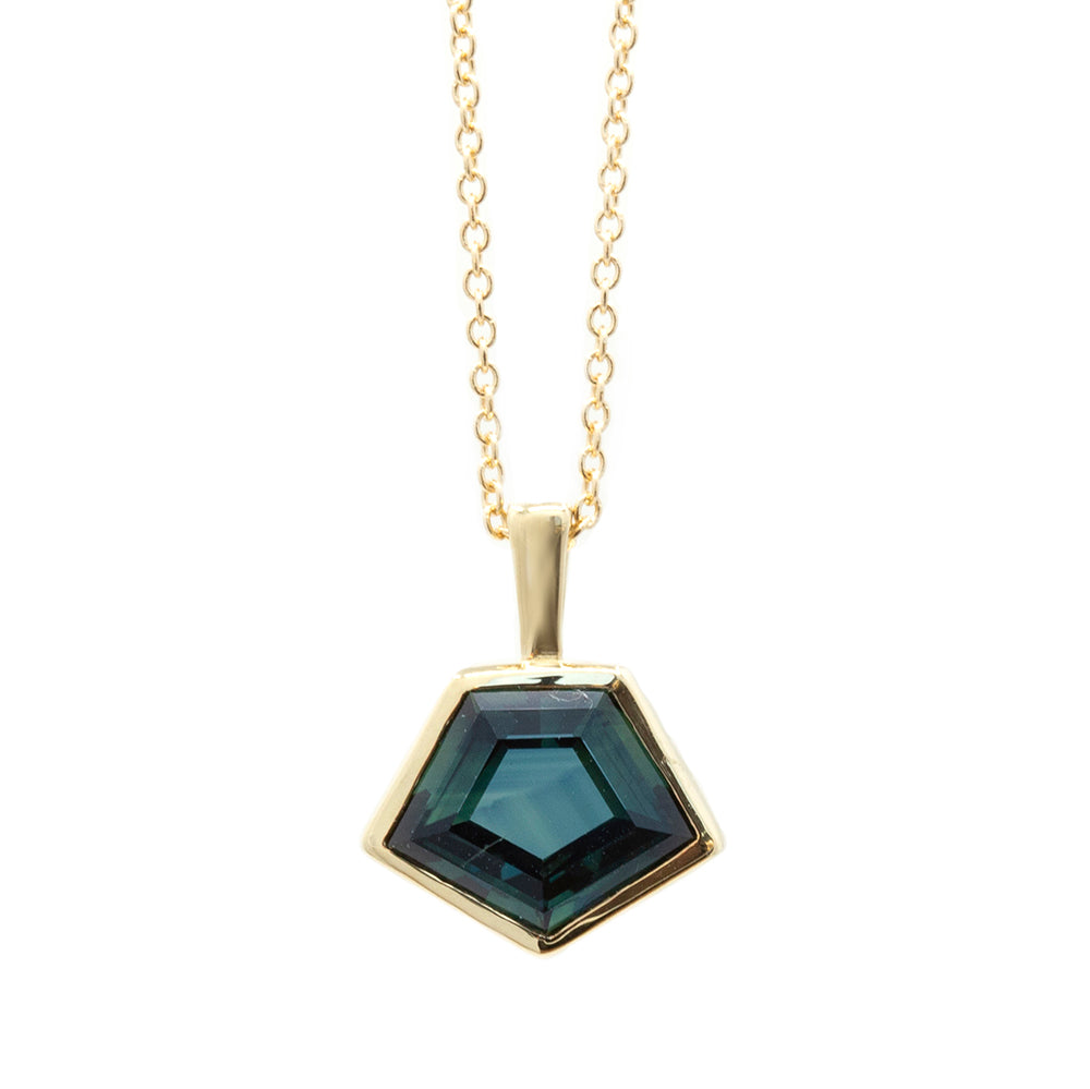 2.45ct Geometric Sapphire Bezel Set Necklace in 14k Yellow Gold