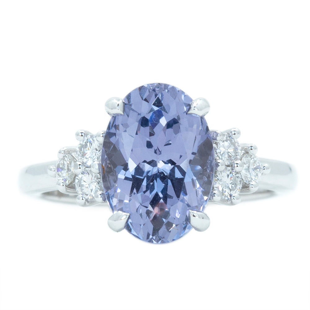 3.71ct Oval Purple Spinel and Diamond Cluster Ring in 14k White Gold