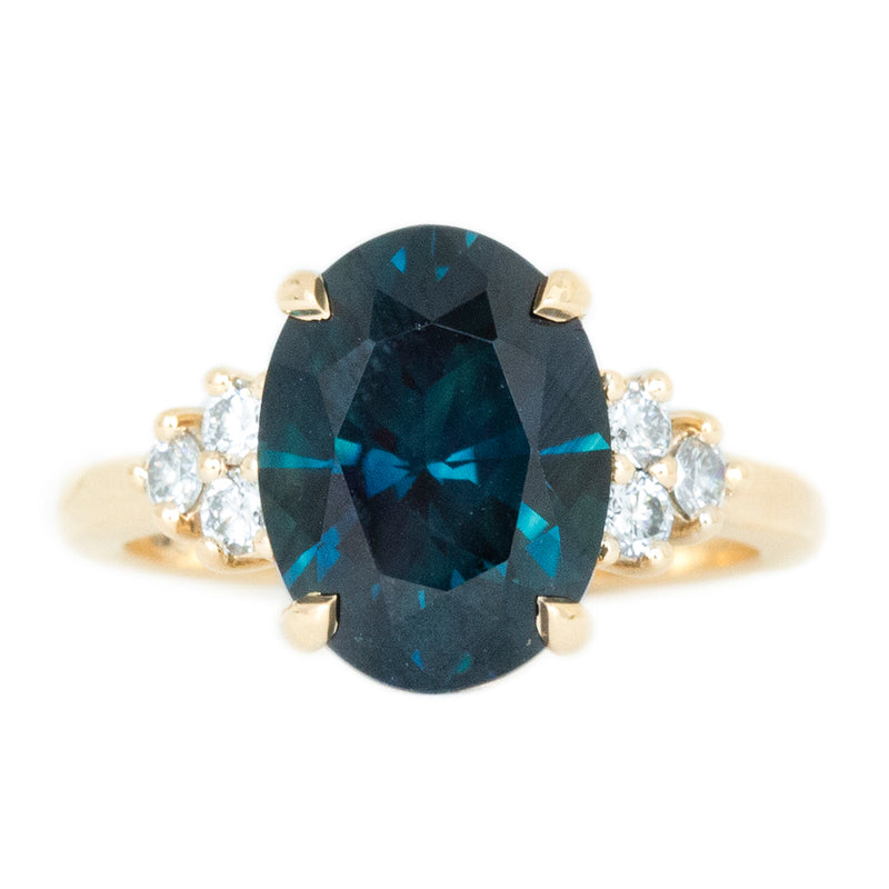 5.15ct Oval Deep Teal Sapphire and Diamond Cluster Ring in 14k Yellow Gold