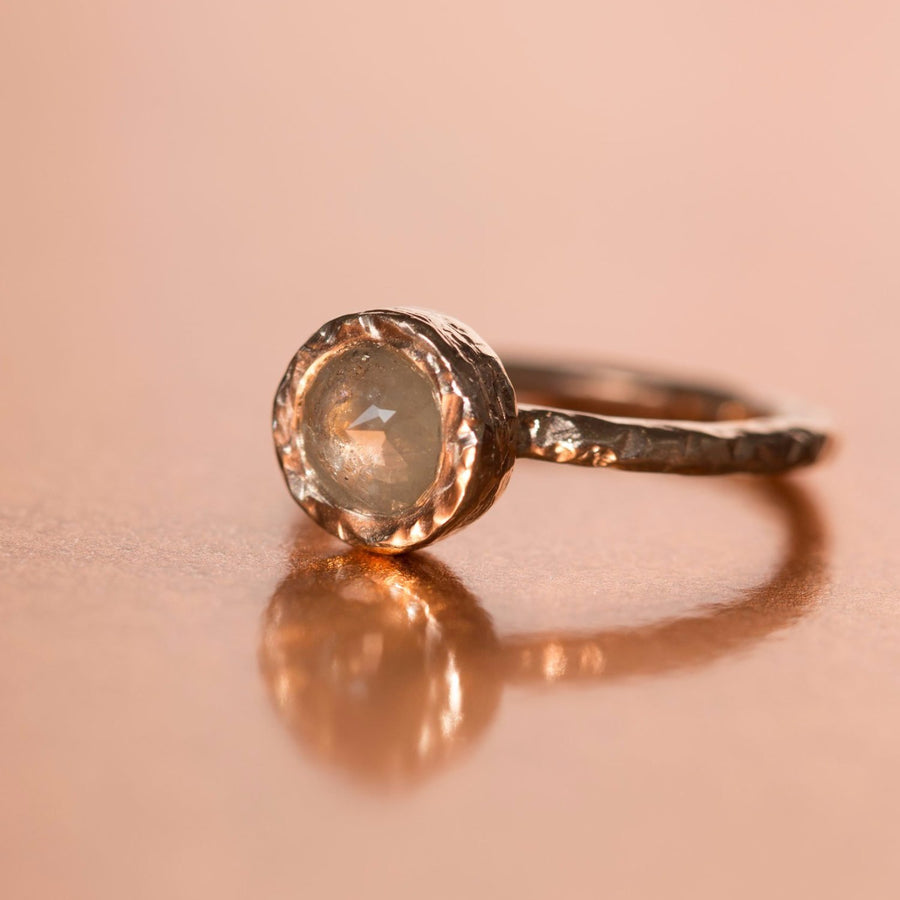 evergreen grey rosecut rough diamond hand carved freeform eco friendly engagement ring jewelry