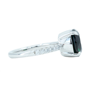 4.29ct GIA Sapphire and French Set Diamond Ring in 14k White Gold