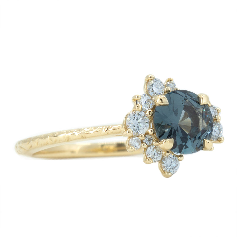 0.94ct Dark Grey and Teal Blue Spinel Asymmetrical Diamond Cluster Ring in 14k Yellow Gold