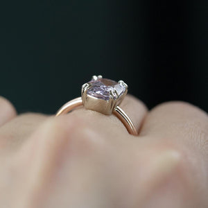 2.51ct Cushion Light Purple Silvery Grey Spinel Double Prong Solitaire in Two Tone Rose and White Gold