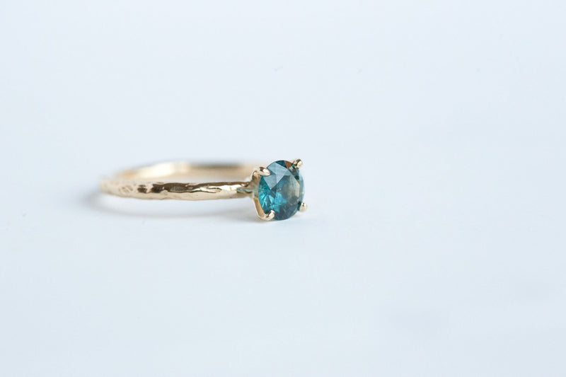 Teal Blue Montana Sapphire Solitaire Ring - Organic Carved Yellow Gold Prong Setting - Teal Mermaid Sapphire -  Unique Engagement Ring by Anueva