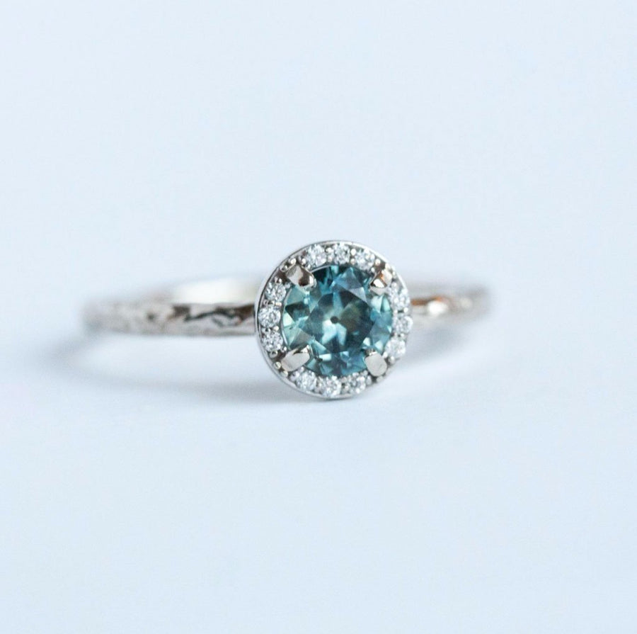 Light Teal Montana Sapphire in White Gold Diamond Halo - Hand Carved Eclectic Band and Antique-inspired setting - Sapphire Engagement Ring by Anueva Jewelry