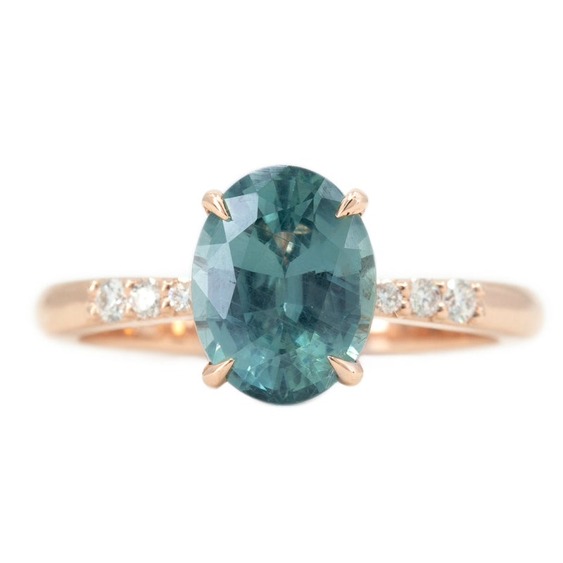 2.50ct Teal Montana Sapphire Solitaire with Tapered Diamonds in 14k Rose Gold