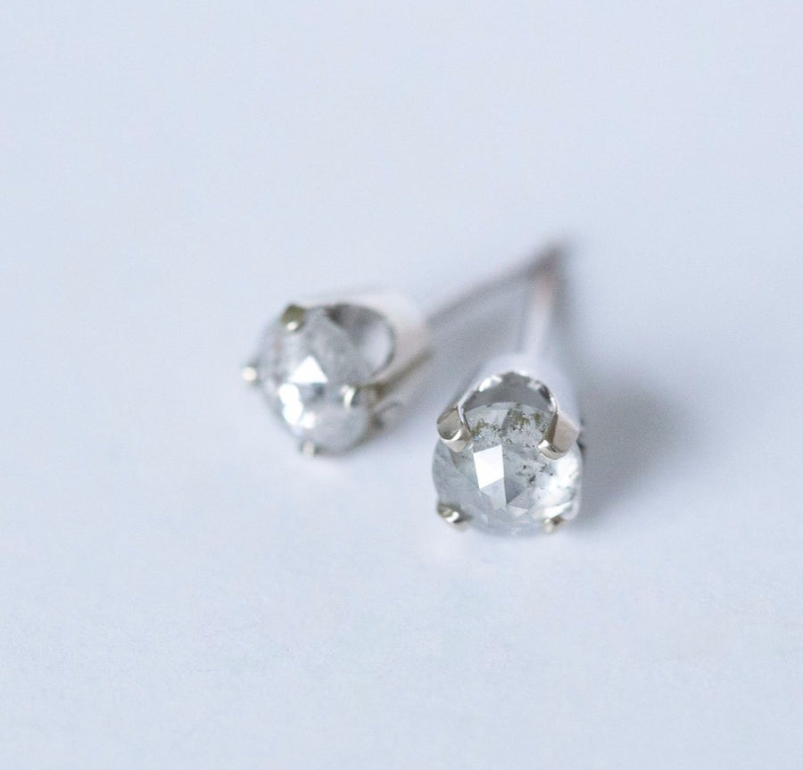 edgy salt and pepper gray rosecut diamond galaxy white gold diamond studs earrings