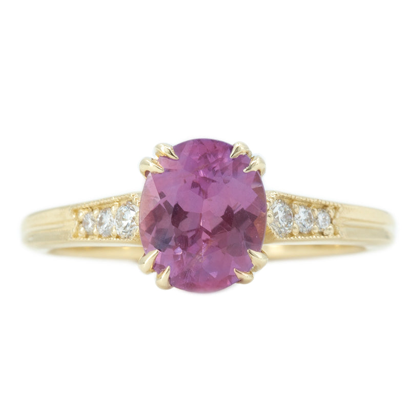 1.75ct Rose Sapphire Vintage Cathedral Ring in 14k Yellow Gold