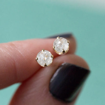 edgy salt and pepper rosecut diamond galaxy yellow gold diamond studs earrings