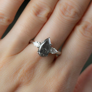 2.10ct Pear Deep Grey Salt And Pepper Diamond Three Stone Ring with White Diamond Sides in 14k White Gold