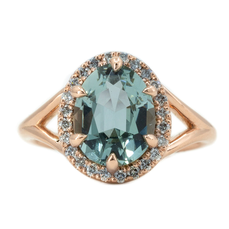 2.45ct Poval Blue Aquamarine Diamond Halo Low Profile Split Shank Ring In 14k Rose Gold