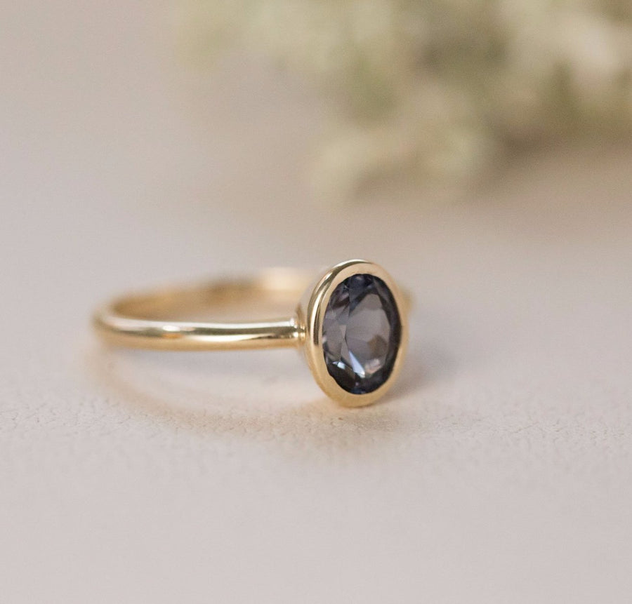 Indigo Blue Spinel Oval Ring - Bezel Set Ring - Spinel Engagement Ring by Anueva Jewelry