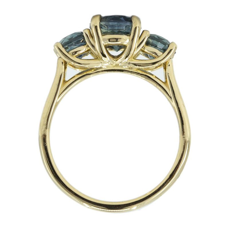1.78ct Blue Montana Sapphire Three Stone Ring in 18k Yellow Gold