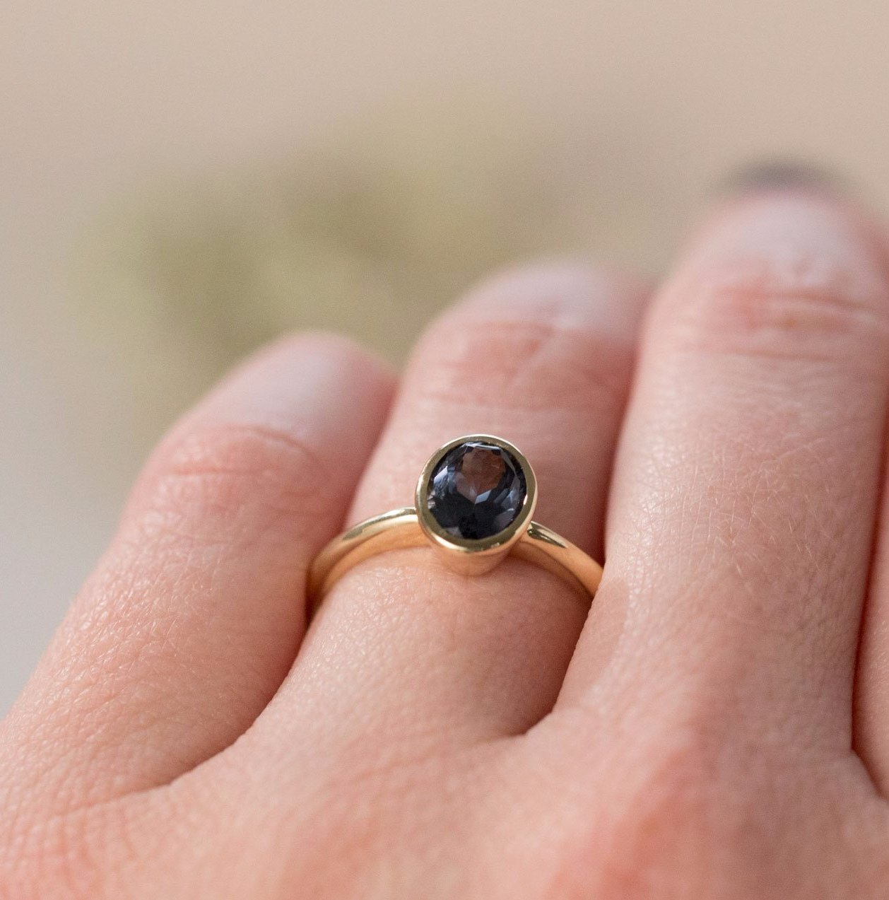 Indigo Blue Spinel Oval Ring - Bezel Set Ring - Spinel Engagement ...