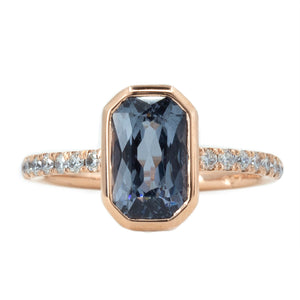 2.61ct Radiant Cut Spinel Low Profile Bezel Ring with Diamonds in 14k Rose Gold