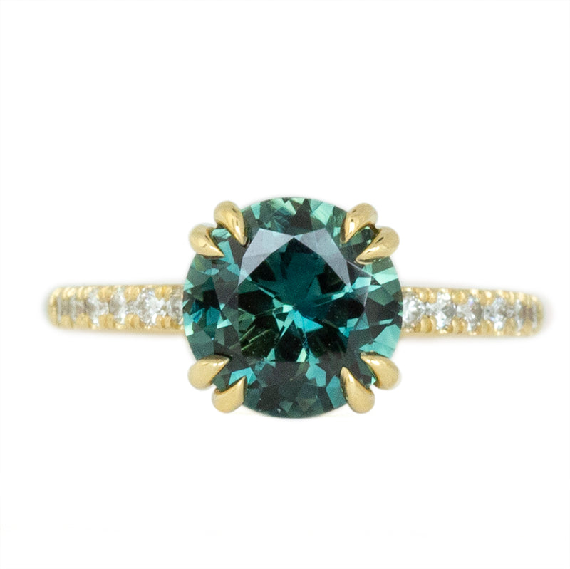 2.76ct Round Teal Nigerian Sapphire Double Prong Solitaire with Diamonds in 18k Yellow Gold