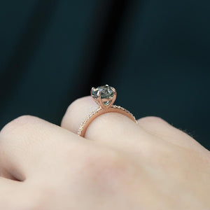 2.11CT Round Montana Sapphire No Heat Ring Mounted in our French Set 14K Rose Gold Setting