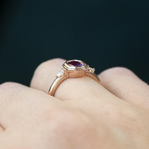 1.02ct Ruby Pink Sapphire Double Bezel Setting With Pear Diamonds In 14k Rose Gold