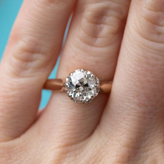 old mine cut cushion big diamond antique cluster engagement ring