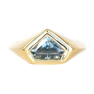 1.88ct Shield Montana Sapphire Signet Ring in 14k Yellow Gold