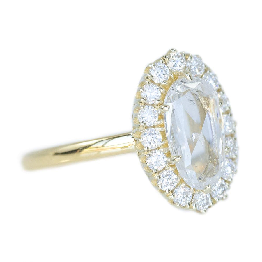 1ct Antique Style Rosecut Diamond Halo Ring, Low Profile in 14k Yellow Gold