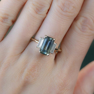 2.87ct Emerald Cut Parti Sapphire Three Stone Ring with Baguette Diamonds in Two Tone Gold