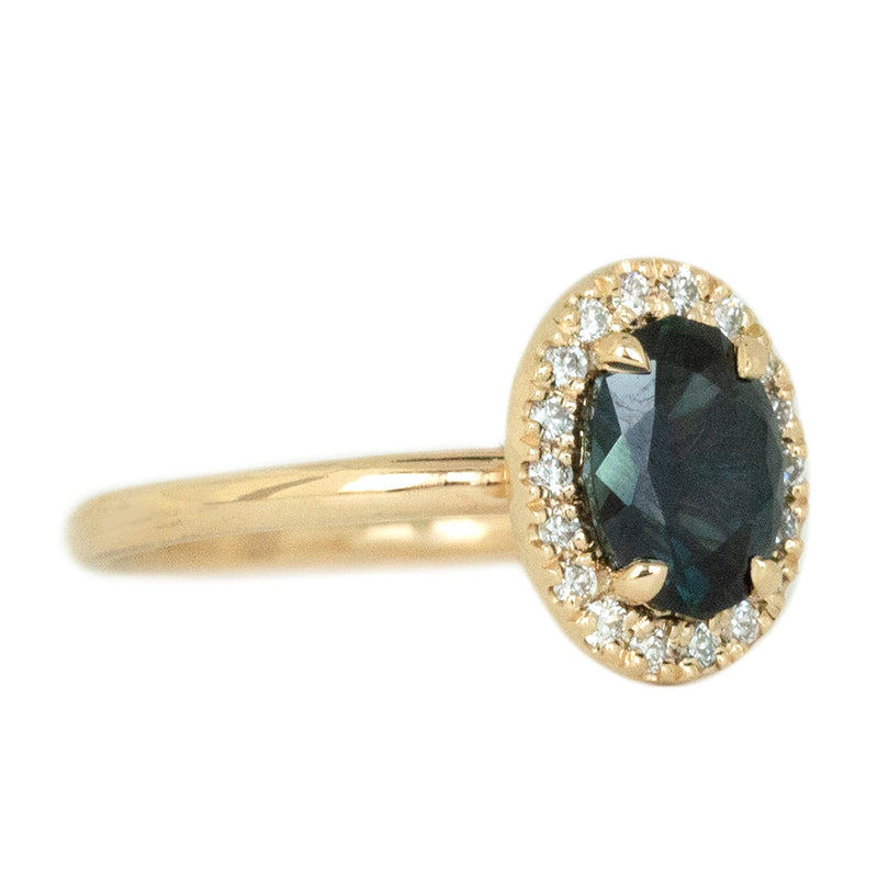 1.54ct Australian Deep Royal Blue Sapphire and Diamond Halo Ring in 14k Yellow Gold