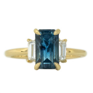 3.07ct Emerald Cut GIA Watercolor Blue Montana Sapphire Three Stone Ring with White Baguette Diamonds
