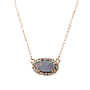 Opal and Diamond Halo Necklace in 14k Rose Gold, 9.40x5.35mm