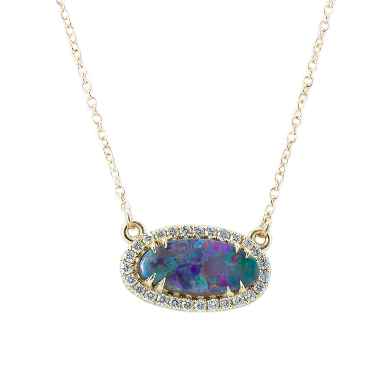 Opal and Diamond Halo Necklace in 14k Yellow Gold, 11.52x5.19mm