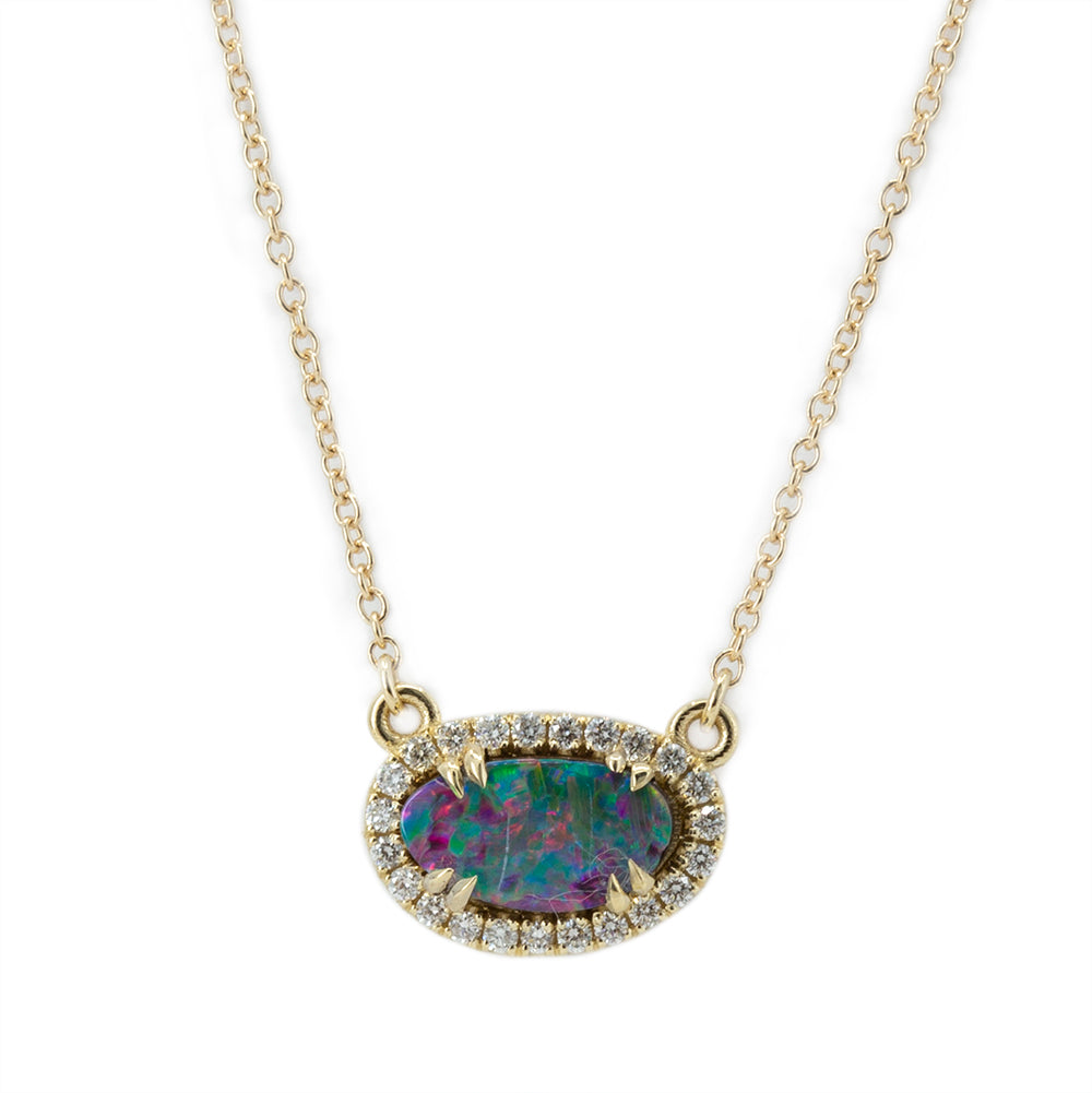 Opal and Diamond Halo Necklace in 14k Yellow Gold 9.10x5.20mm