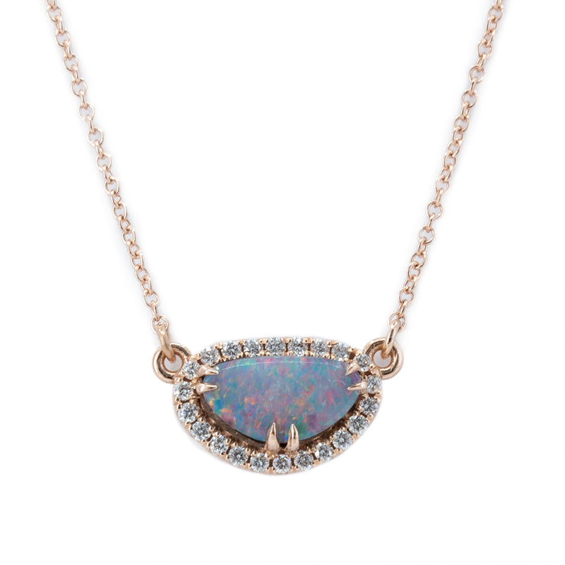 Opal and Diamond Halo Necklace in 14k Rose Gold, 9.30x5.10mm