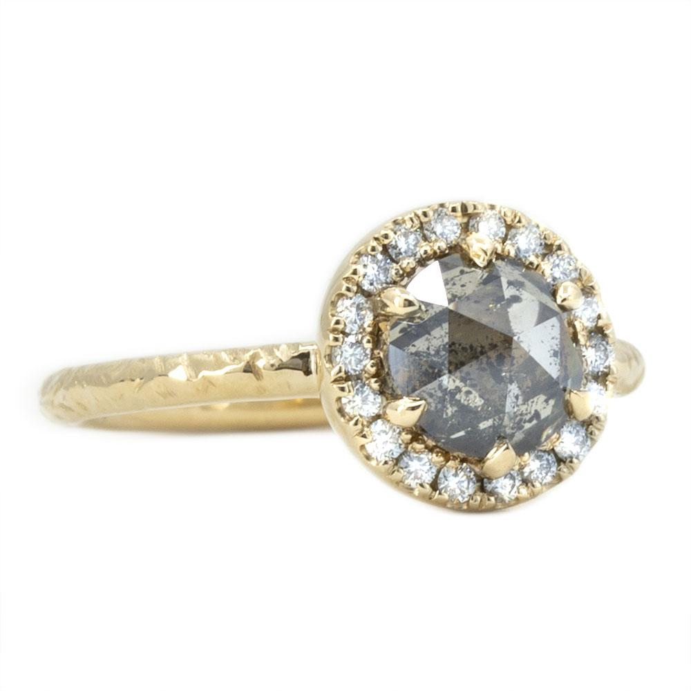 1.31ct Champagne Rosecut Salt and Pepper Diamond Ring in Low Profile Halo in 14k Yellow Gold