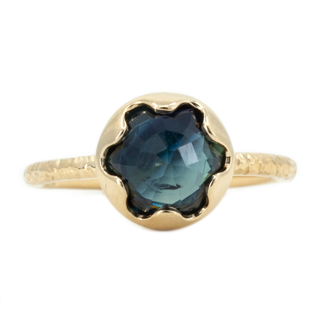 2.86ct Rosecut Blue Sapphire Low Profile Six Prong Evergreen Solitaire in 14k Yellow Gold