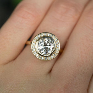 1.45ct Antique Old European Cut Diamond in 14k Yellow Gold Bezel Set Halo