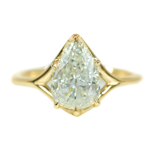 1.51ct Antique Pear Diamond in Low Profile Six Prong Split Shank 14k Yellow Gold