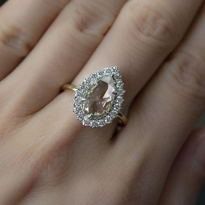 2.24ct Grey Pear Rosecut Diamond and Scalloped Halo Antique Ring in Two Tone Gold