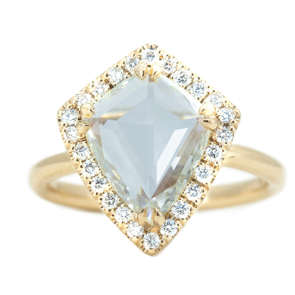 TEMPORARY HOLD: 1.98ct GIA Kite Rosecut Diamond Low Profile Halo Ring in 14k Yellow Gold