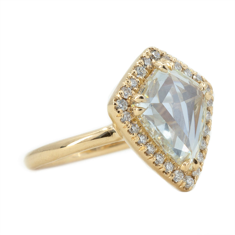 1.98ct GIA Kite Rosecut Diamond Low Profile Halo Ring in 14k Yellow Gold
