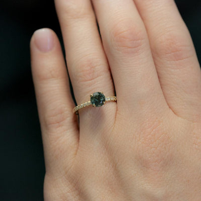 1.20ct Deep Teal Blue Green Sapphire with French Set Diamond Solitaire in 14k Yellow Gold