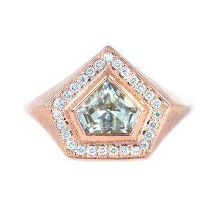 1.19ct Shield White Sapphire and Diamond Halo Signet in 14k Rose Gold
