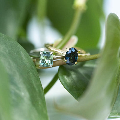 1.38ct Oval Sapphire Evergreen Solitaire in 14k Yellow Gold