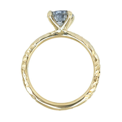 1.23ct Round Salt And Pepper Diamond Evergreen Solitaire in 14k Yellow Gold