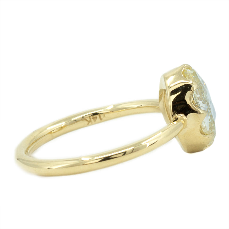 1.84ct Oval Rosecut Diamond Low Profile Six Prong Antique Style Ring in 14k Yellow Gold