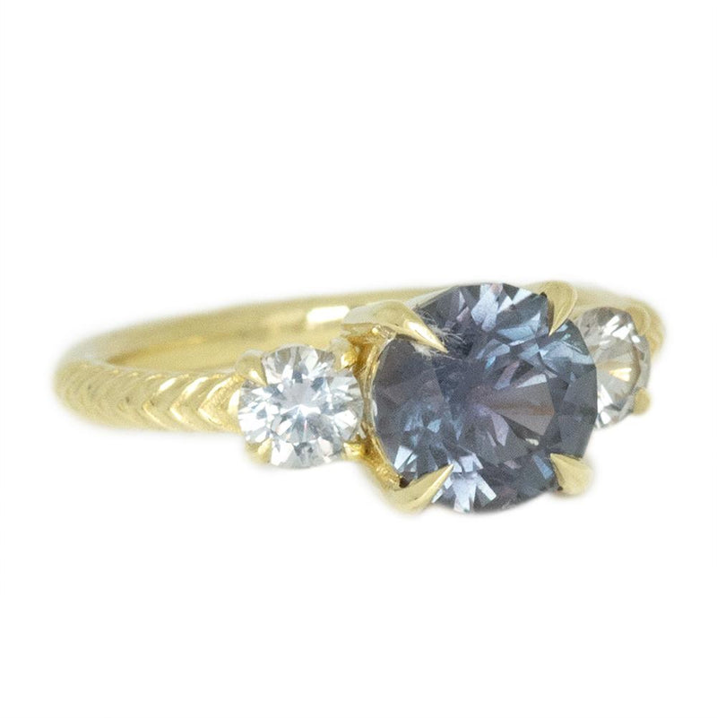 2.31ct GIA Greyish Purple Montana Sapphire Three Stone Ring with Chevron Texture in 18k Yellow Gold