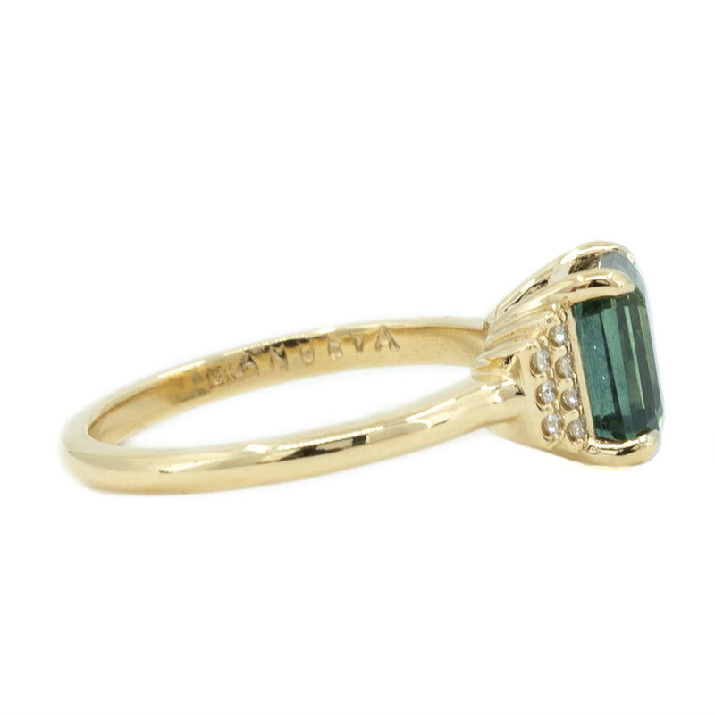 2.57ct GIA Emerald Cut Teal Blue Montana Sapphire and Diamond Ring in 14k Yellow Gold