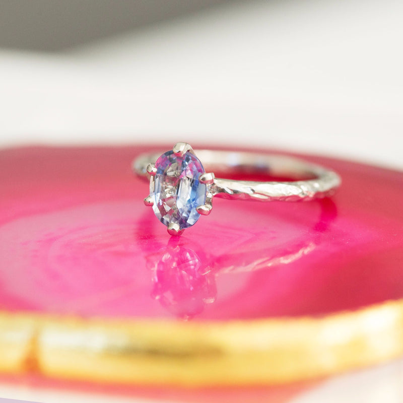 evergreen sapphire oval pastel sapphire carved bark gemstone engagement ring