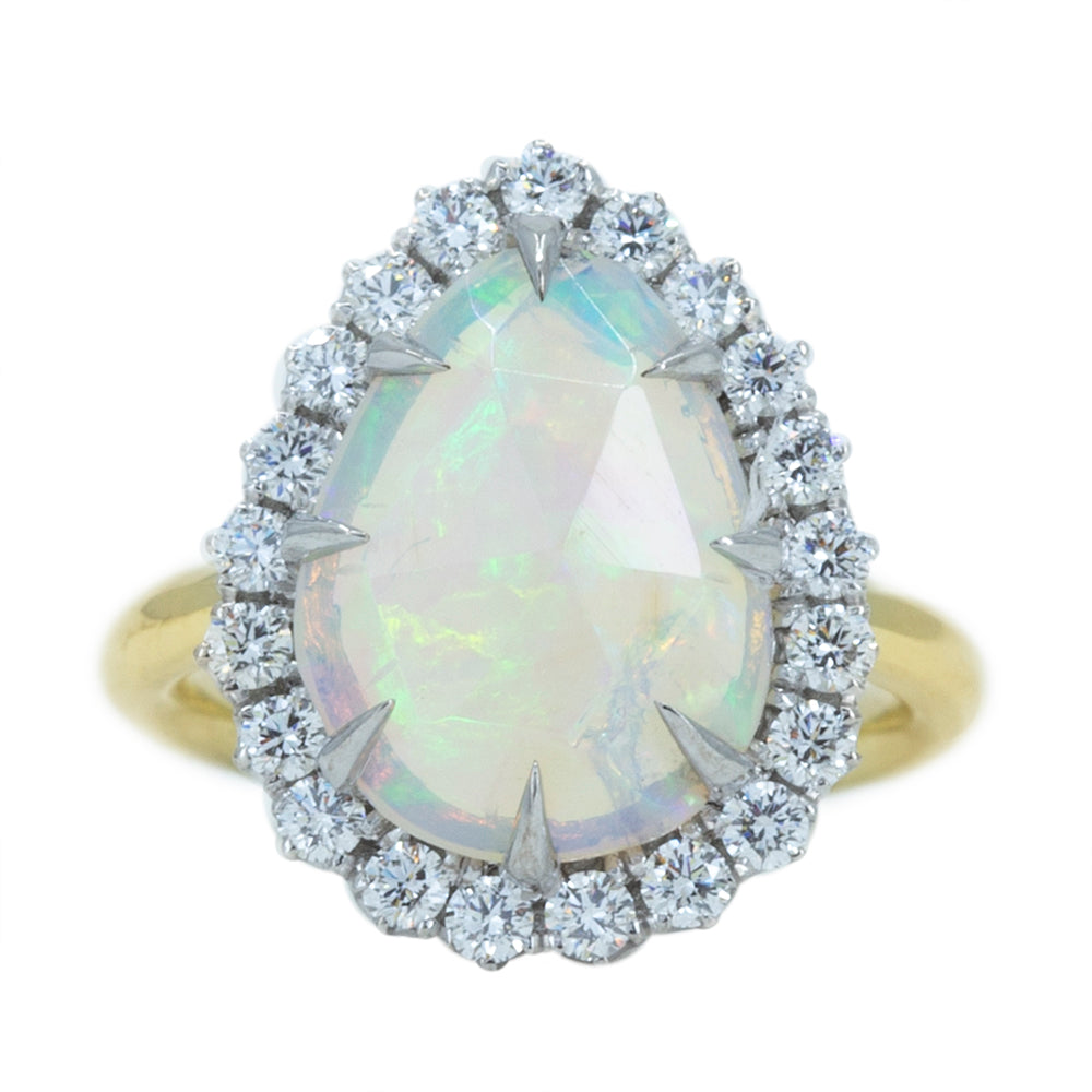 Pear Opal And Diamond Halo Ring In 14k Yellow And White Gold
